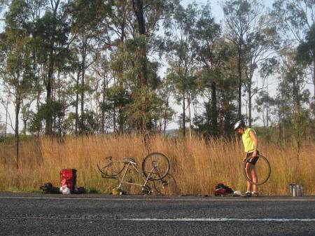 Roadside repairs on the Bruce Highway, Far North Queensland Photo: Greg Foyster